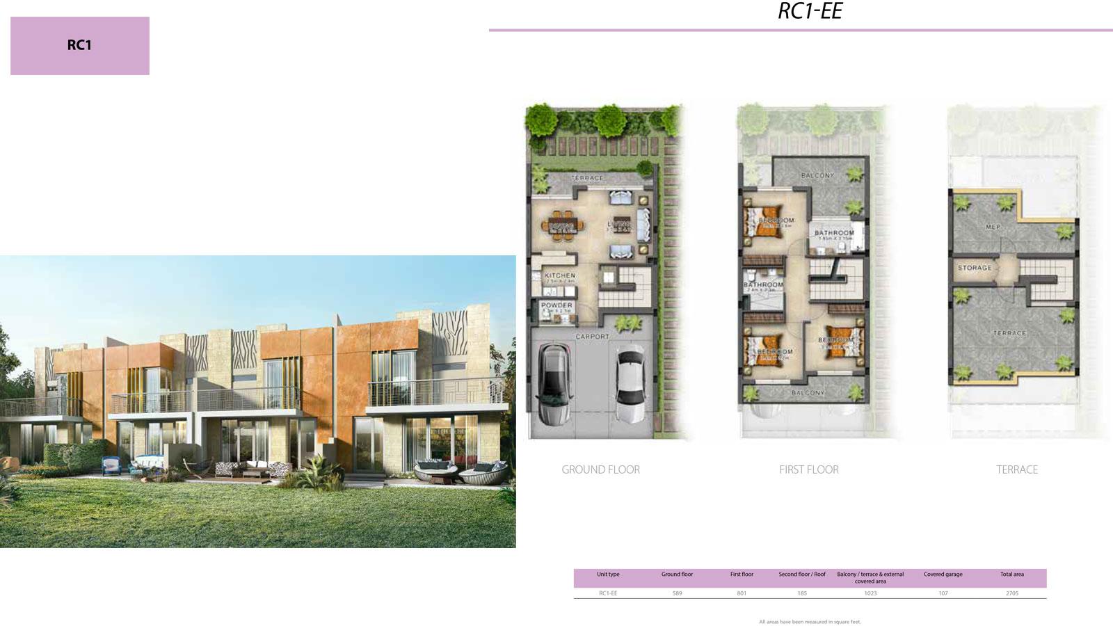 3 Bedroom Villa, Size 2705 sq ft