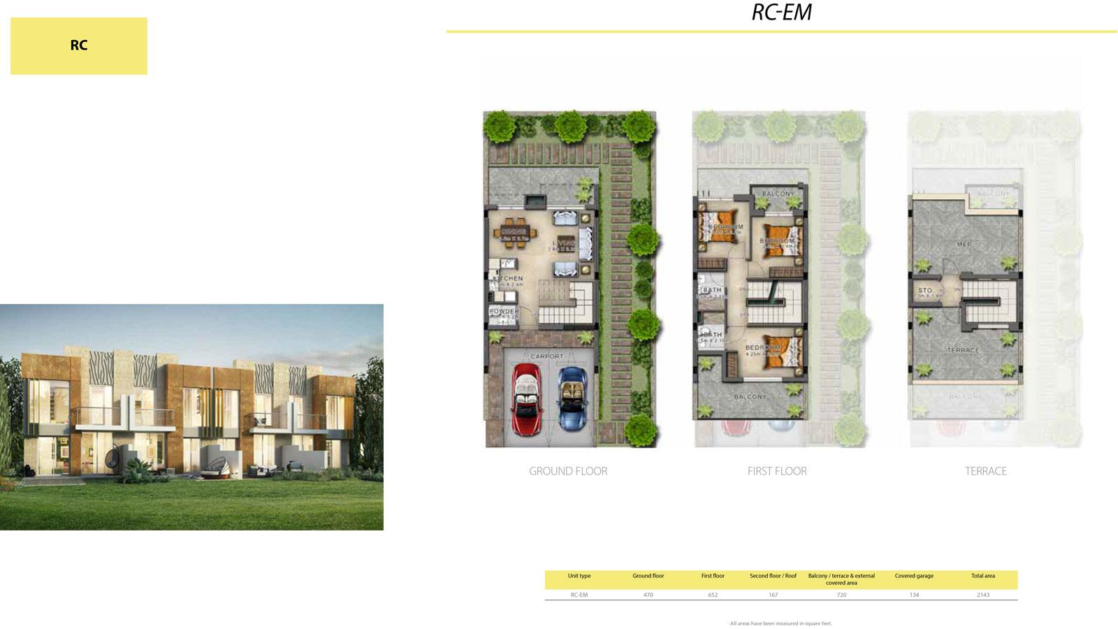 3 Bedroom Villa, Size 2143 sq ft
