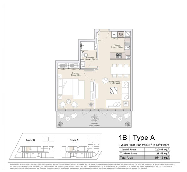 1 BR, Type A, Typical Floor Plan from 2nd to 13th Floors