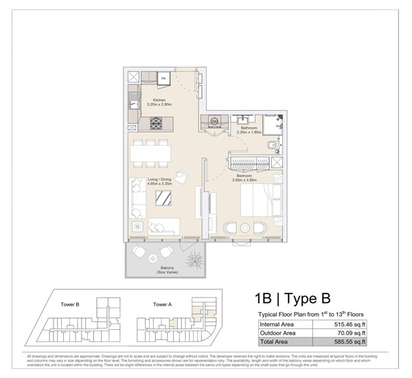 1 BR, Type B, Typical Floor Plan from 1st to 13th Floors
