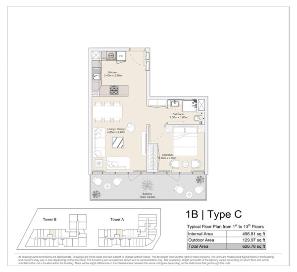1 BR, Type C, Typical Floor Plan from 1st to 13th Floors