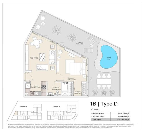 1 BR, Type D, 1st Floor