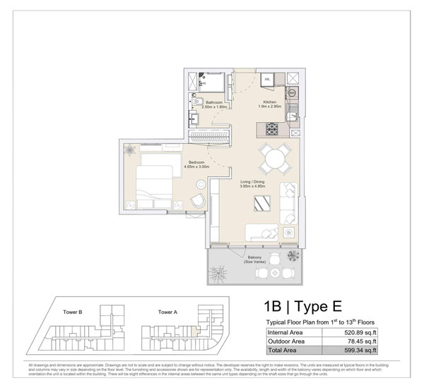 1 BR, Type E, Typical Floor Plan from 1st to 13th Floors