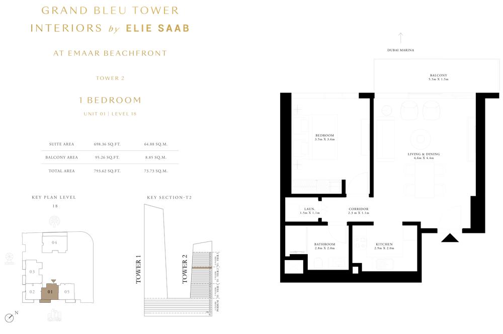 1 Bed, Unit-01-Level-18