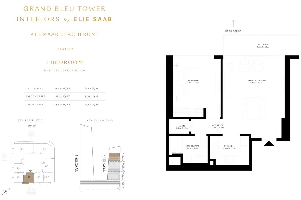 1 Bed, Unit-01-Level-20-26