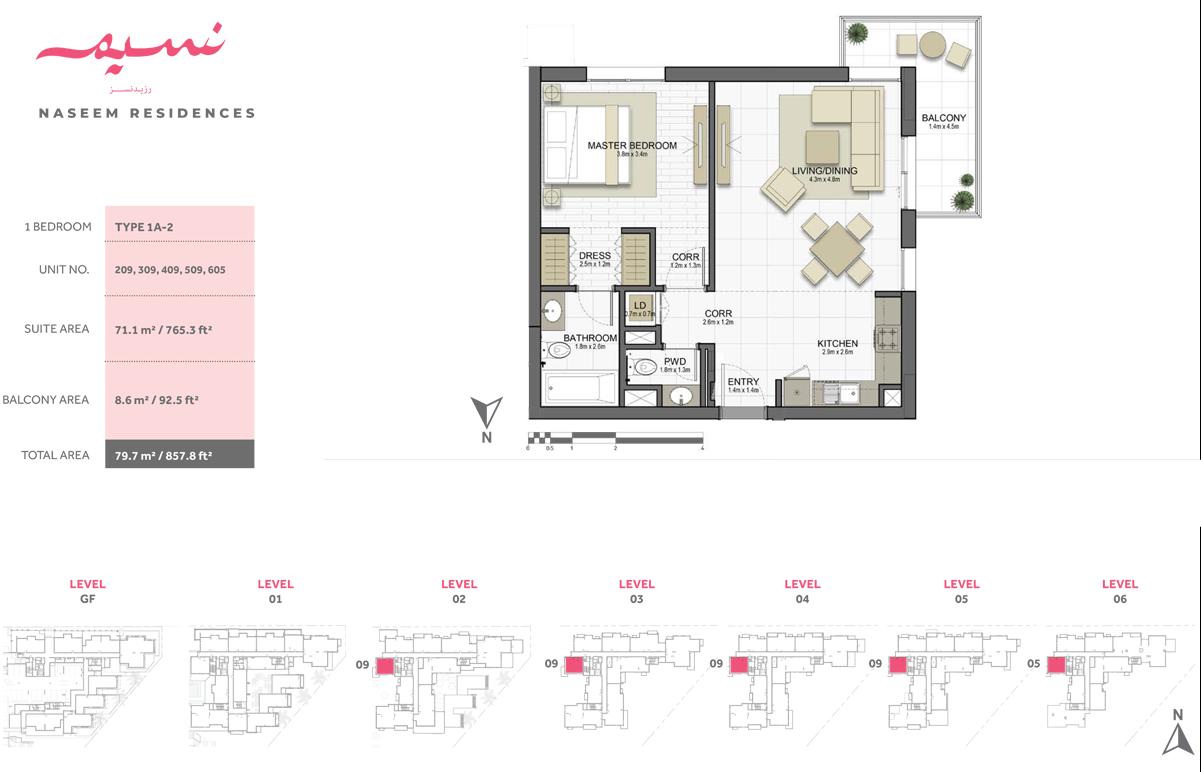 1 Bedroom, Type 1A-2, Unit 209-309-409-509-605