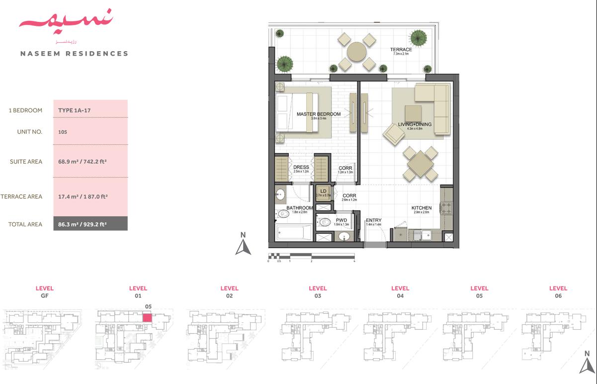 1 Bedroom, Type 1A-17, Unit 105