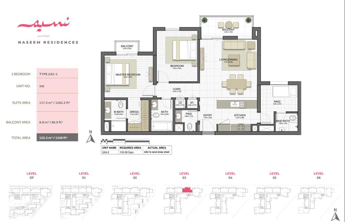 2 Bedroom, Type 2A5-1, Unit 306
