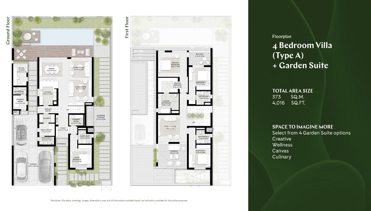 4 BR, Type A, Garden Suite