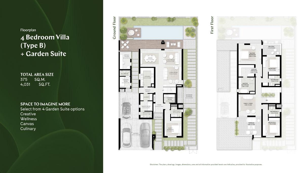4 BR, Type B, Garden Suite