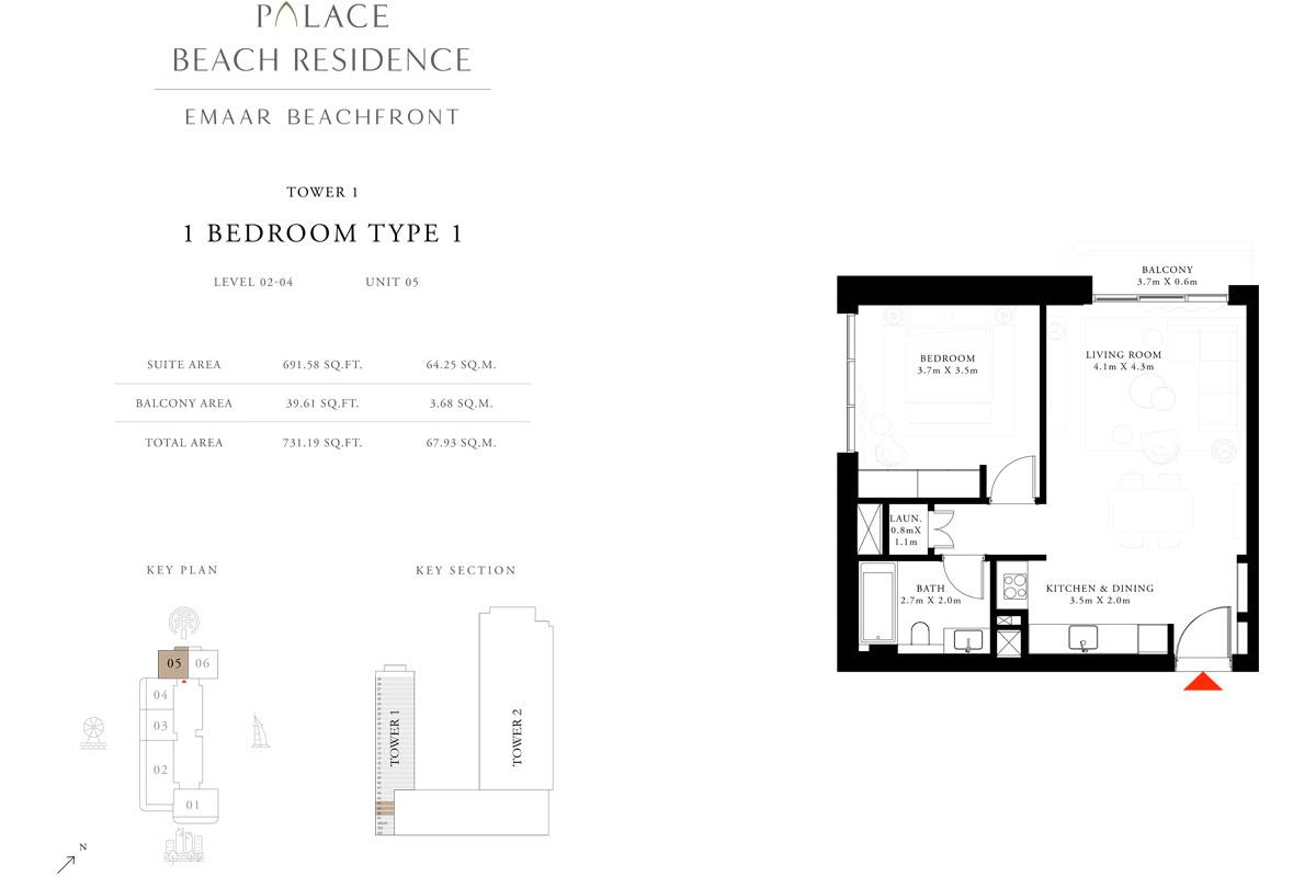 1 Bedroom, Type 1, Level 2-4, Unit 5