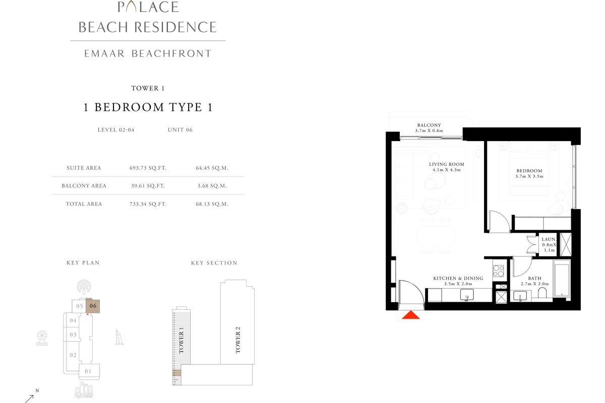 1 Bedroom, Type 1, Level 2-4, Unit 6