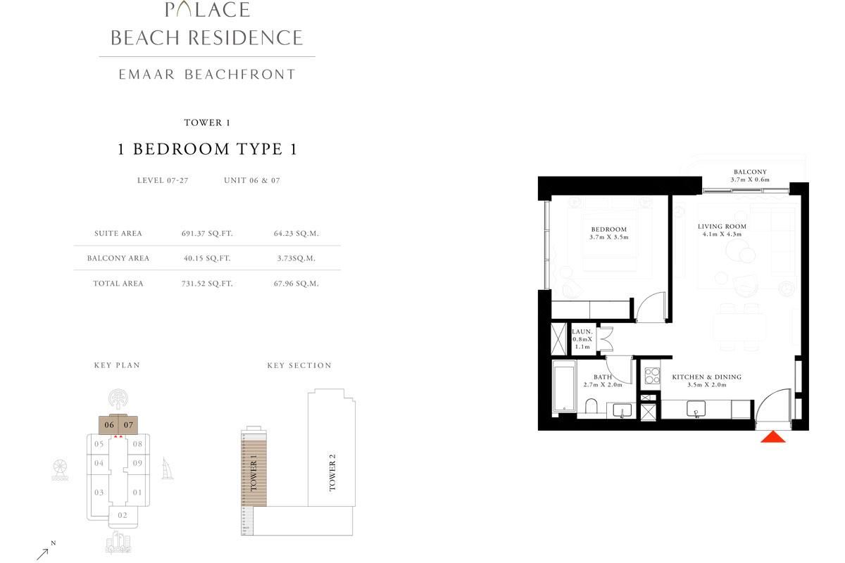 1 Bedroom, Type 1, Level 7-27, Unit 6 & 7