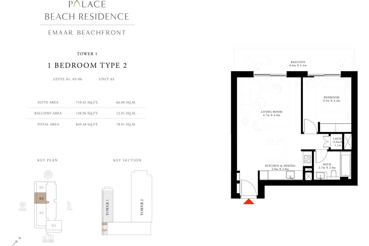 1 Bedroom, Type 2, Level 1,5-6, Unit 3