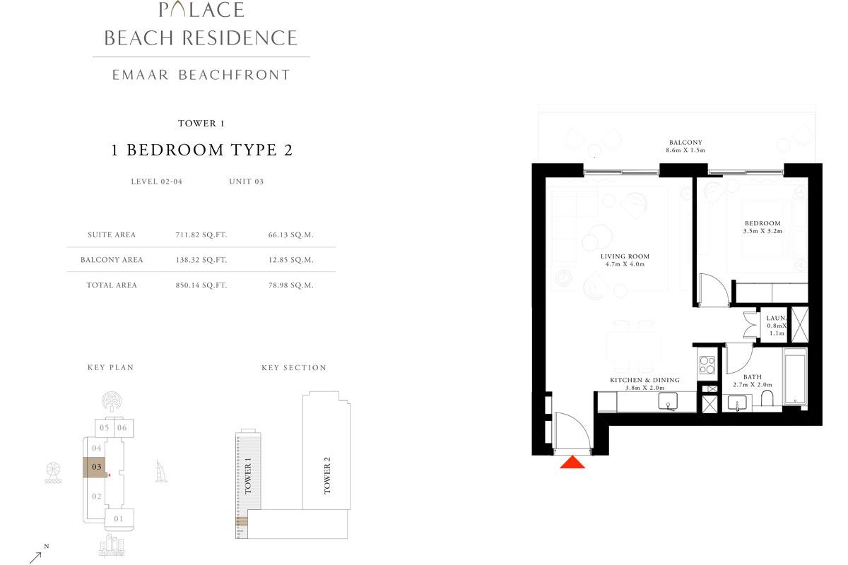 1 Bedroom, Type 2, Level 2-4, Unit 3
