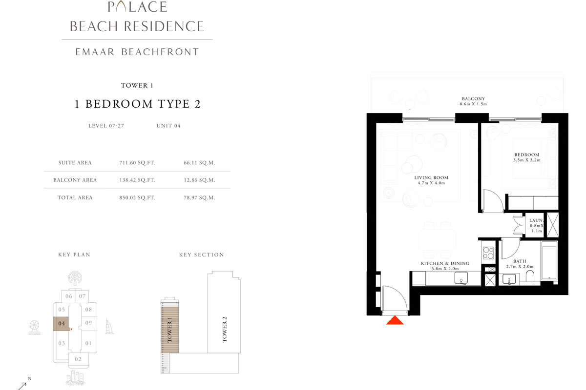 1 Bedroom, Type 2, Level 7-27, Unit 4