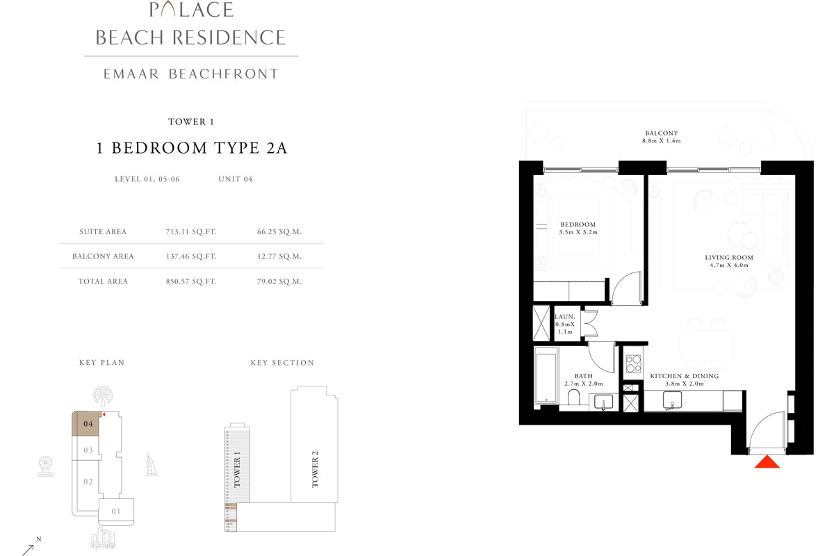 1 Bedroom, Type 2A, Level 1,5-27, Unit 4