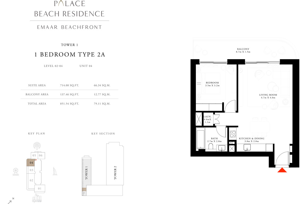 1 Bedroom, Type 2A, Level 2-4, Unit 4
