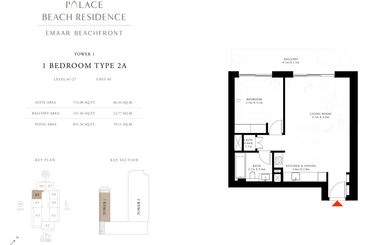 1 Bedroom, Type 2A, Level 7-27, Unit 5