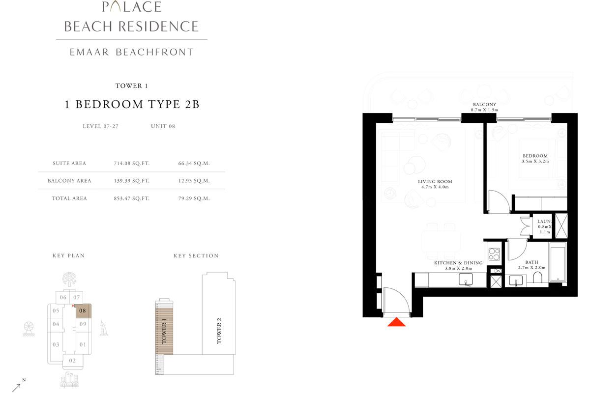 1 Bedroom, Type 2B, Level 7-27, Unit 8