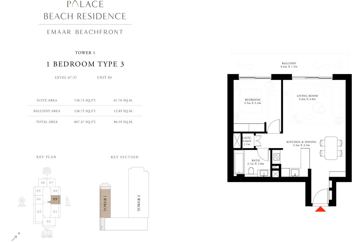 1 Bedroom, Type 3, Level 7-27, Unit 9