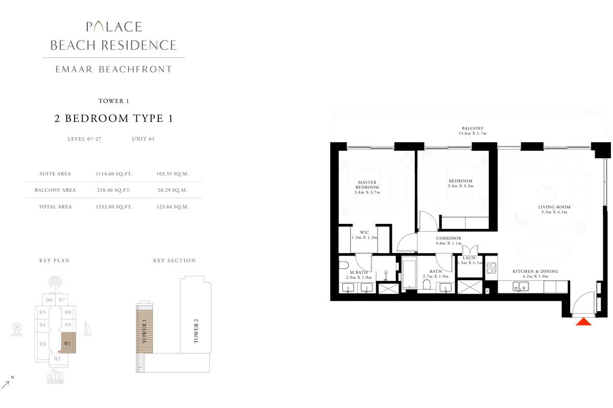 2 Bedroom, Type 1, Level 7-27, Unit 1