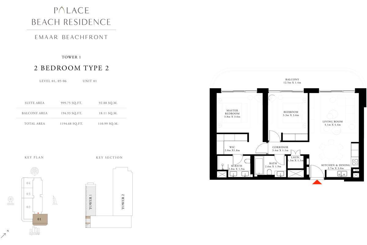 2 Bedroom, Type 2, Level 1,5-6, Unit 1