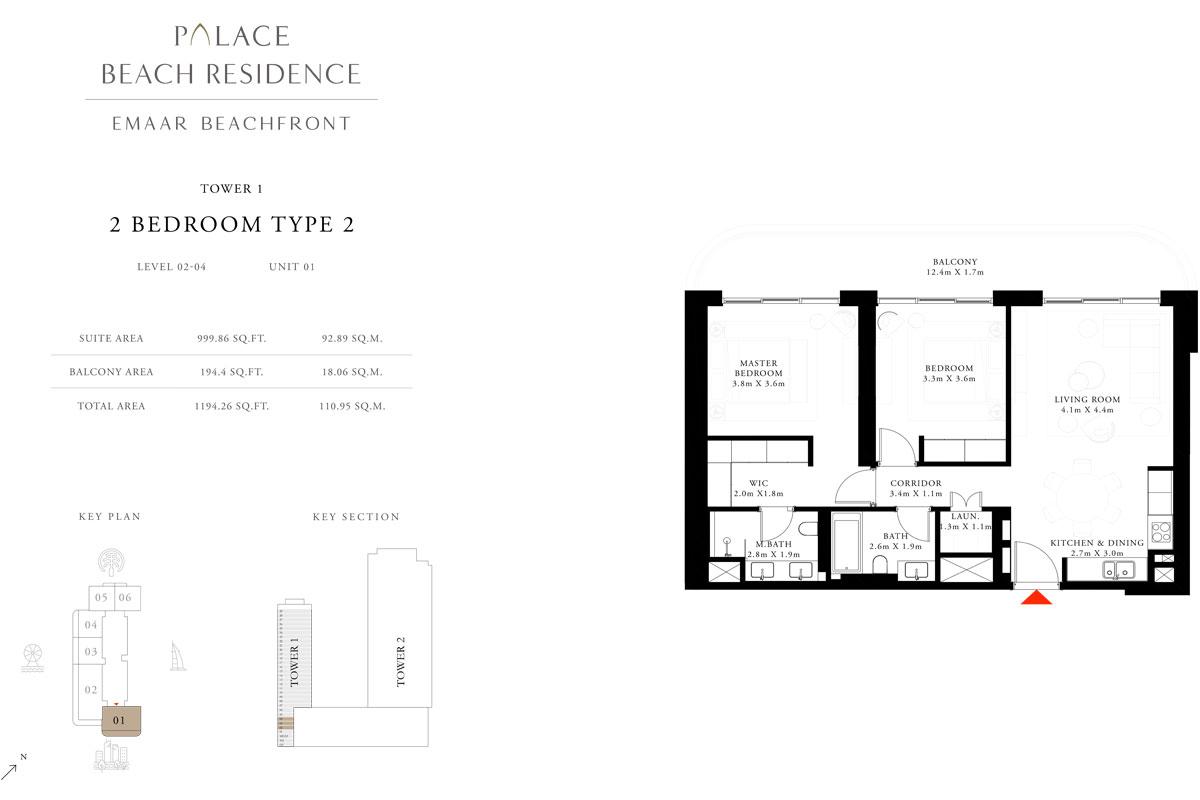 2 Bedroom, Type 2, Level 2-4, Unit 1