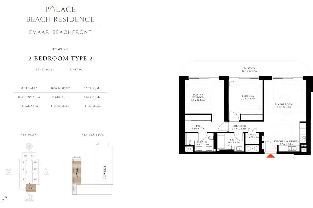 2 Bedroom, Type 2, Level 7-27, Unit 2