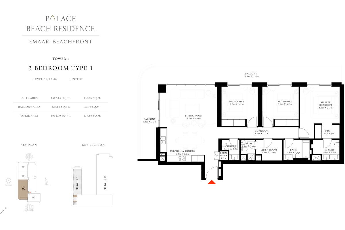 3 Bedroom, Type 1, Level 1,5-6, Unit 2