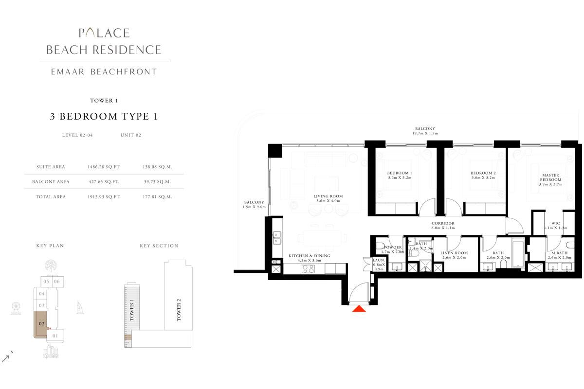 3 Bedroom, Type 1, Level 2-4, Unit 2