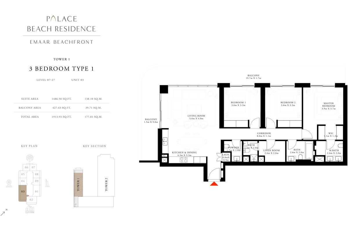 3 Bedroom, Type 1, Level 7-27, Unit 3