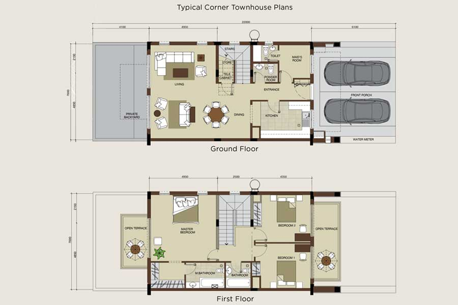 Typical Corner Townhouses Plan
