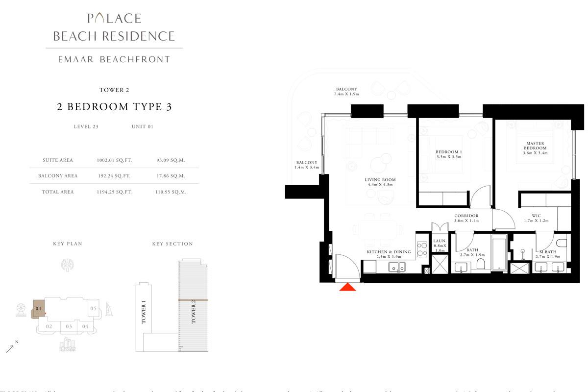 2 Bedroom, Type 03, Level 23, Unit 01