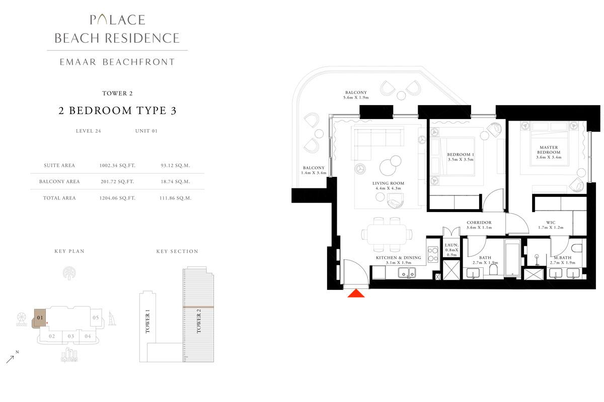 2 Bedroom, Type 03, Level 24, Unit 01