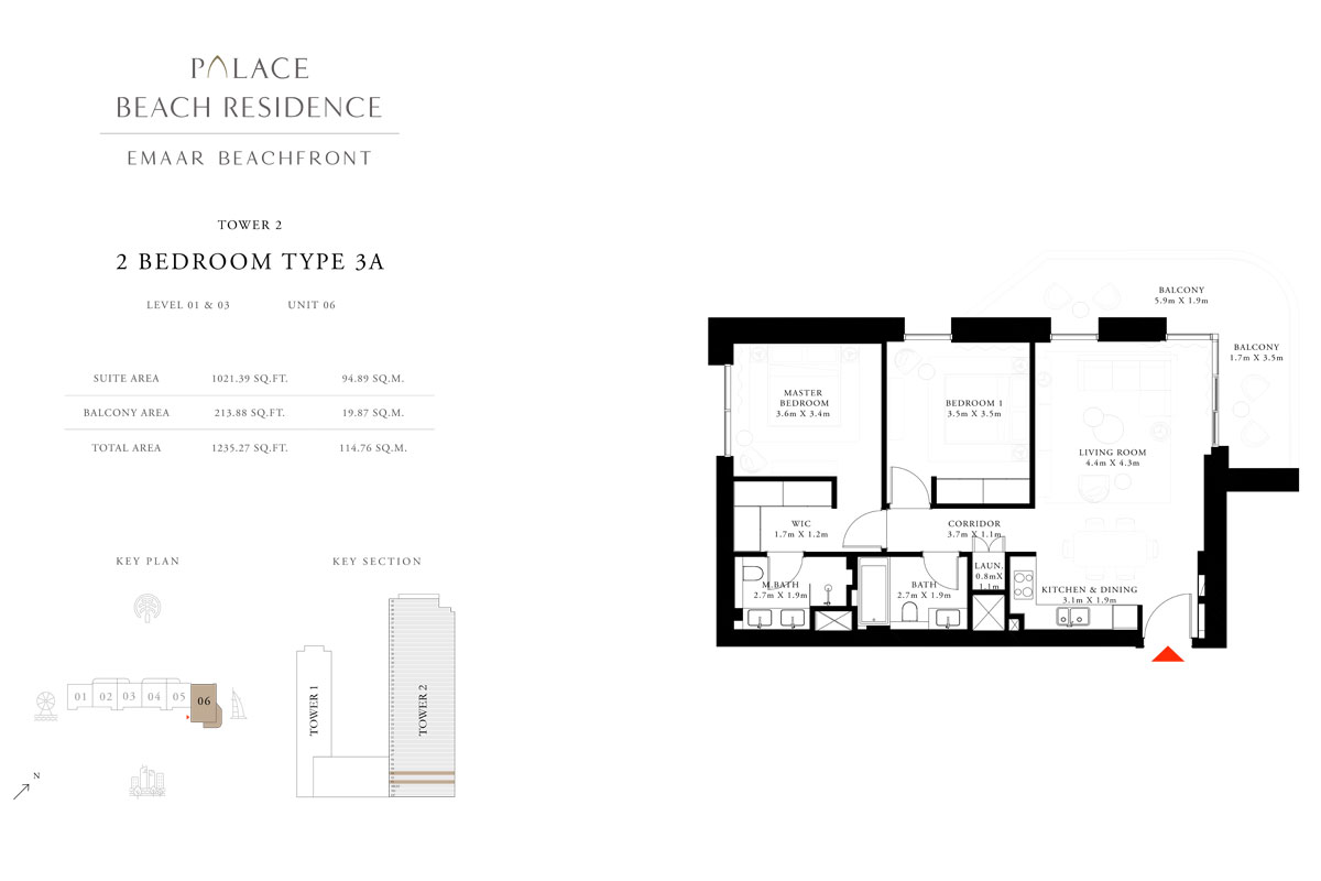 2 Bedroom, Type 3A, Level 01 & 03, Unit 06