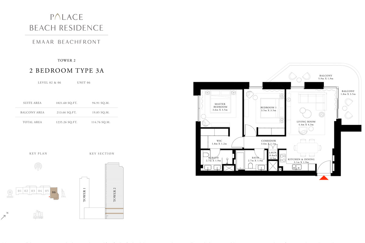 2 Bedroom, Type 3A, Level 02 & 06, Unit 06