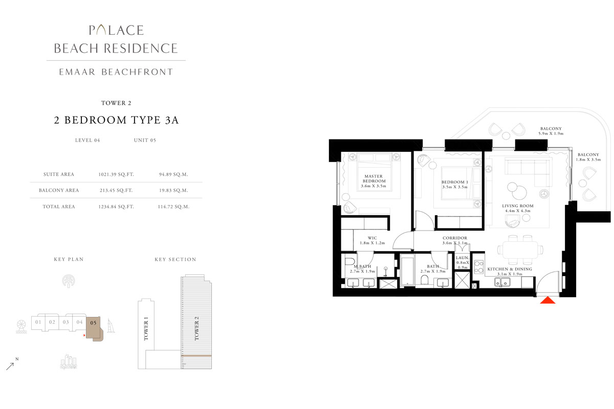 2 Bedroom, Type 3A, Level 04, Unit 05