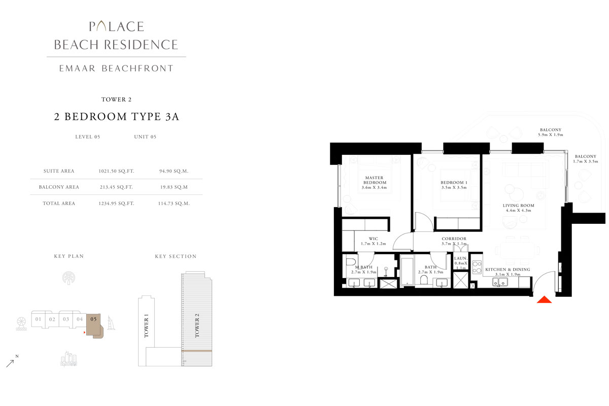 2 Bedroom, Type 3A, Level 05, Unit 05