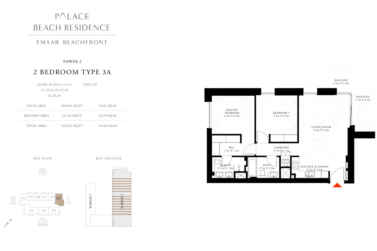 2 Bedroom, Type 3A, Level 07,09,11,13,15,17,19,21,25,27,29,31,33,35, Unit 05