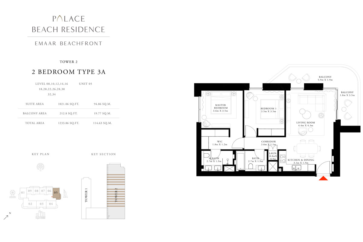2 Bedroom, Type 3A, Level 08,10,12,14,16,18,20,22,26,28,30,32,34, Unit 05