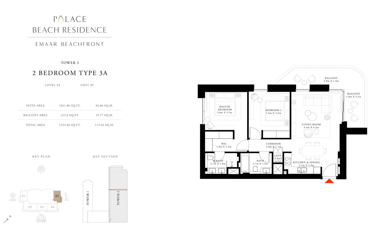 2 Bedroom, Type 3A, Level 24, Unit 05