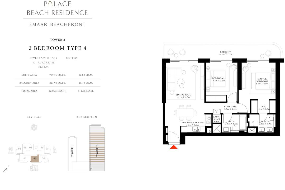 2 Bedroom, Type 04, Level 07,09,11,13,15,17,19,21,25,27,29,31,33,35, Unit 03
