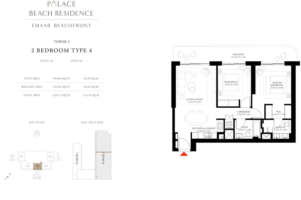 2 Bedroom, Type 04, Level 23, Unit 03