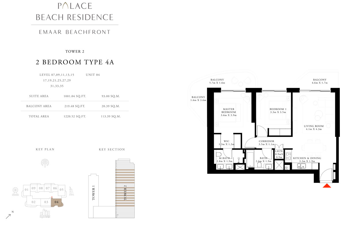 2 Bedroom, Type 4A, Level 07,09,11,13,15,17,19,21,25,27,29,31,33,35, Unit 04