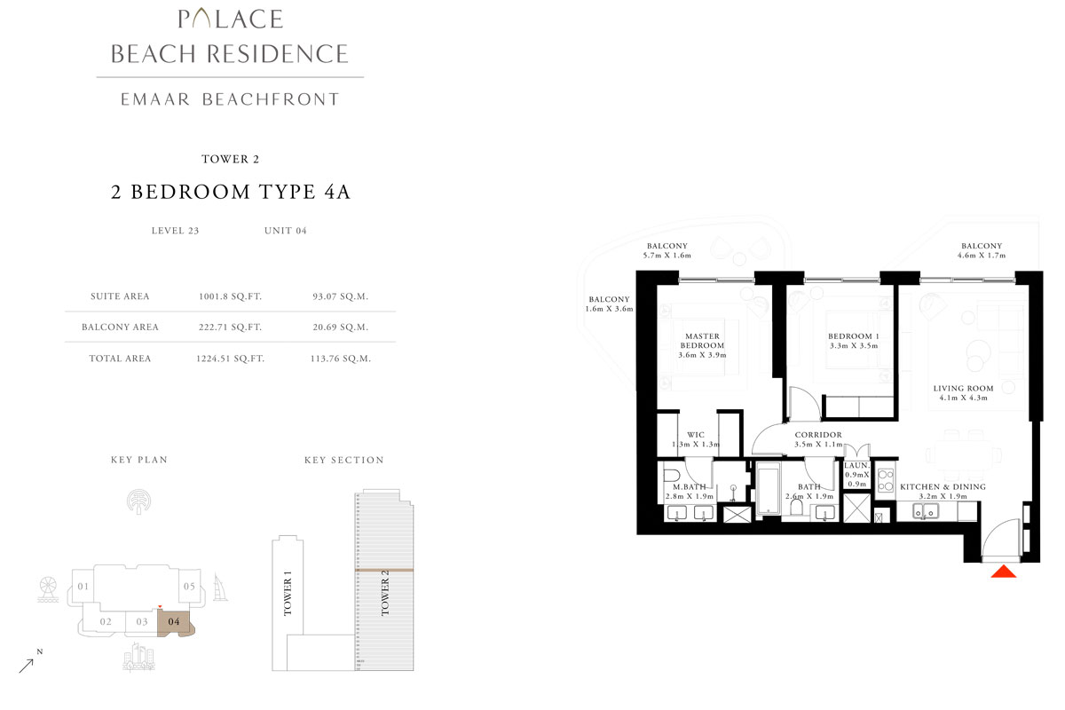 2 Bedroom, Type 4A, Level 23, Unit 04