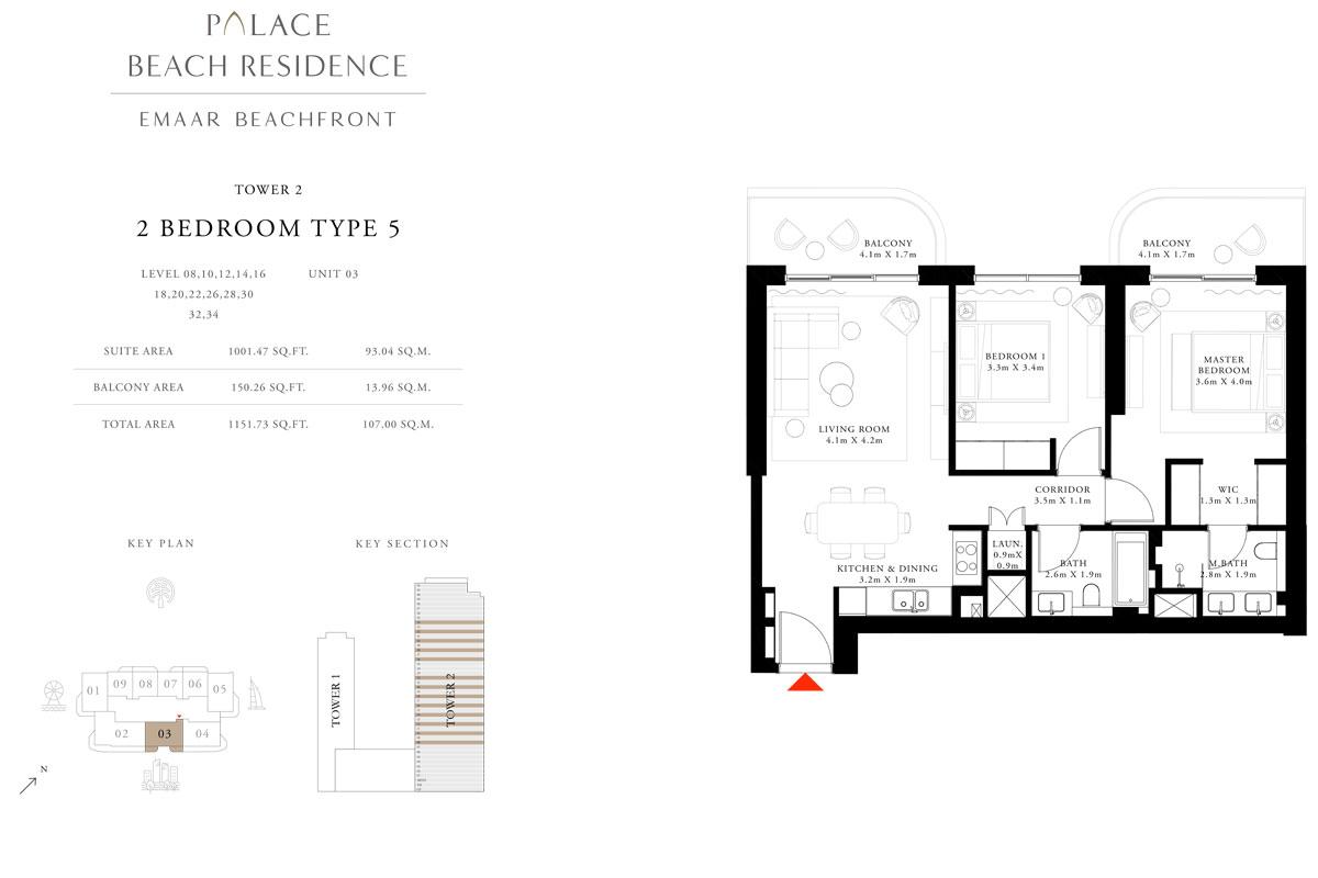 2 Bedroom, Type 05, Level 08,10,12,14,16,18,20,22,26,28,30,32,34, Unit 03