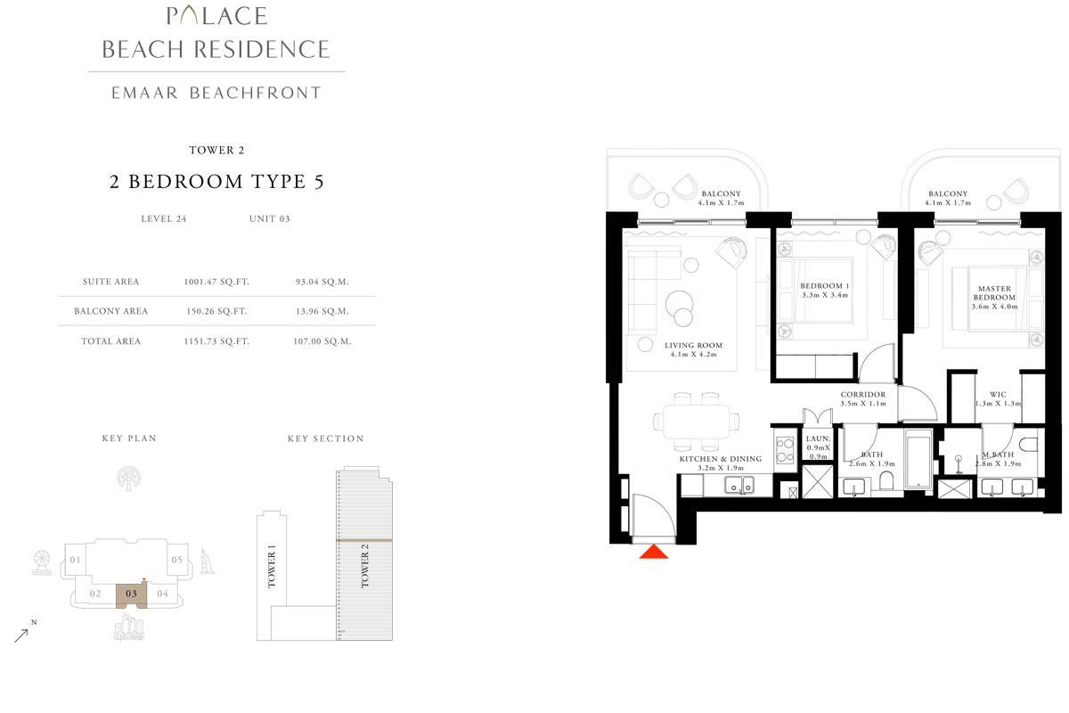 2 Bedroom, Type 05, Level 24, Unit 03