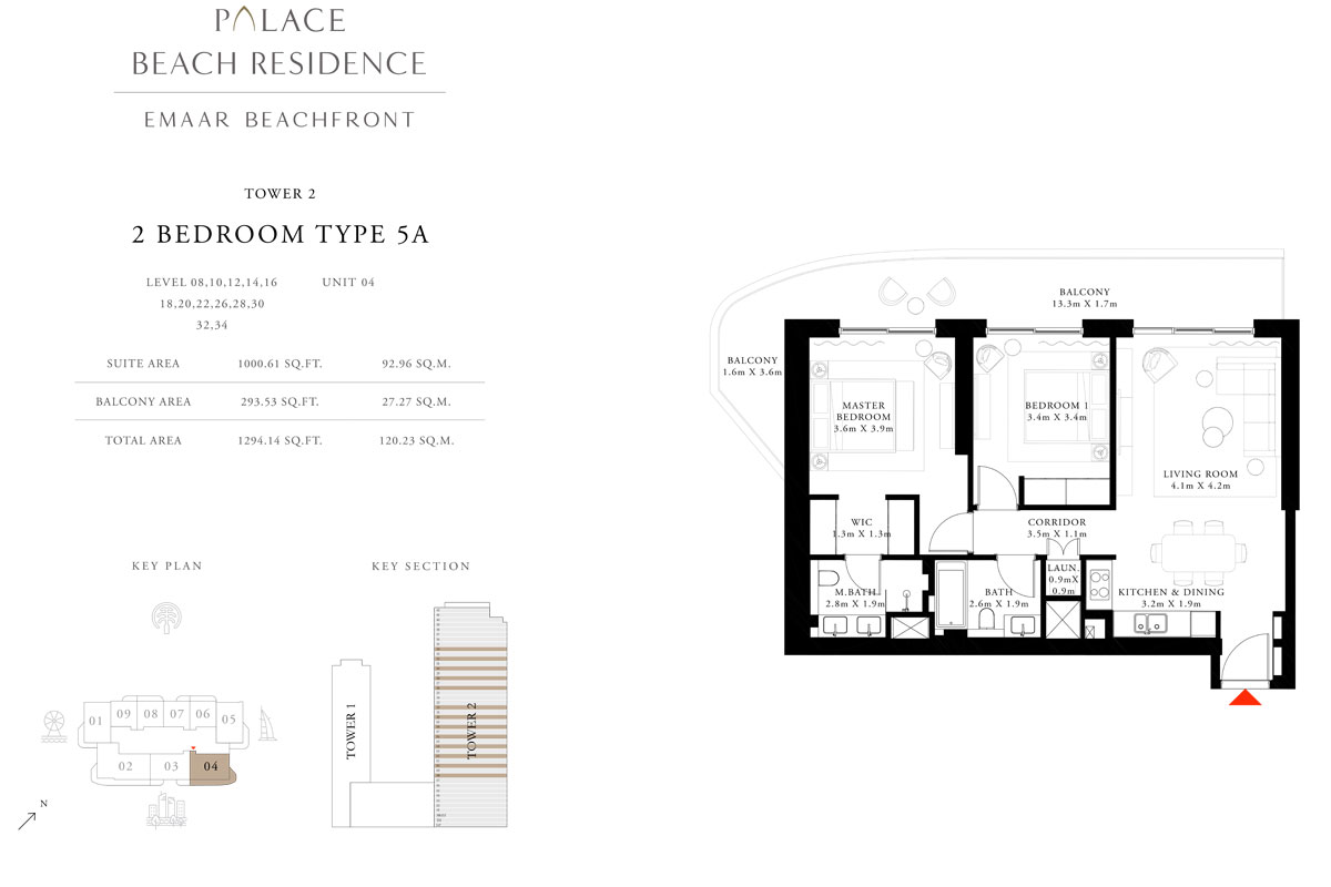 2 Bedroom, Type 5A, Level 08,10,12,14,16,18,20,22,26,28,30,32,34, Unit 04