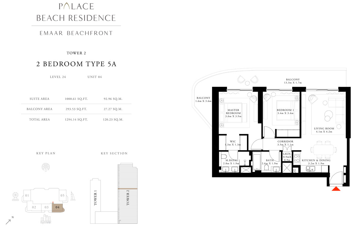 2 Bedroom, Type 5A, Level 24, Unit 04